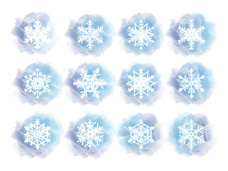 White snowflakes on blue backgrounds. Vector illustration