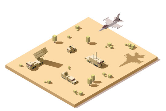 Vector isometric low poly infographic element representing military surface-to-air missile defense system on the desert and jet fighter aircraft flying in flight