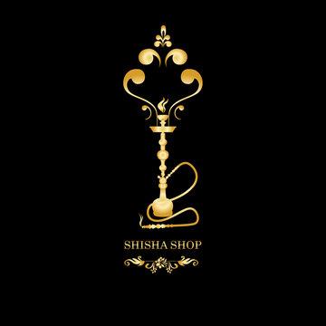 Golden Shisha, hookah black silhouette.