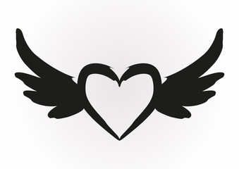 Abstract image of a heart with wings. Brush, black. Isolated.