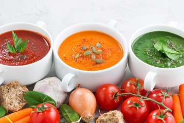 assortment of vegetable cream soups and ingredients