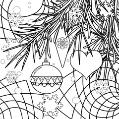 Abstract christmas coloring page book background