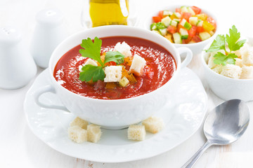 fresh gazpacho in a bowl