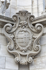 Ancient Coat of Arms on Holy Trinity Column, Budapest, Hungary
