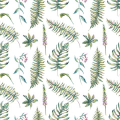 Tropical watercolor leaf seamless pattern