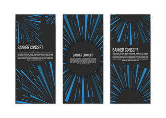 Traveling In Space Banner Set. Banner Concept. Warp Stars. Explosion. Ray Galaxy. Abstract Background. Vector Illustration.