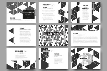 Set of 9 templates for presentation slides. Triangular vector pattern. Abstract black triangles on white background