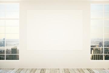 Blank billboard in empty room