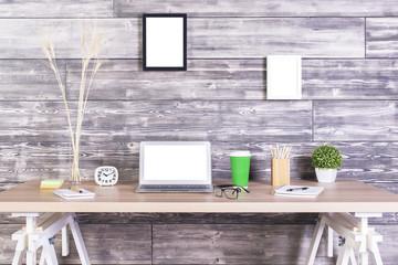 Creative desktop white laptop