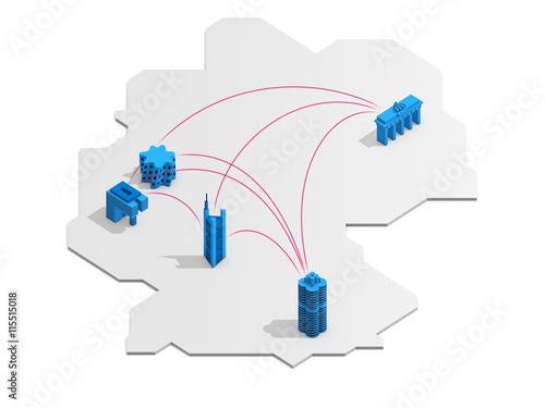 Deutschland Landkarte Mit Städte Verbindungen Berlin