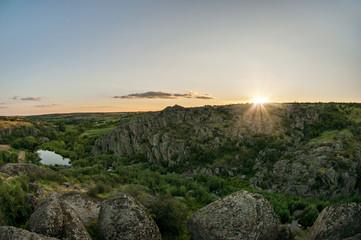 Sunset on Aktovsky canyon in Ukraine
