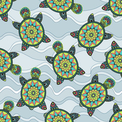 Seamless pattern with green turtles in the sea waves.