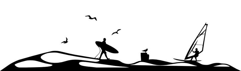 Strand und Surfen