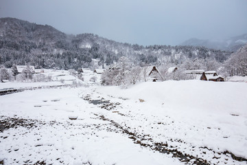 Wall Mural - Winter at Shirakawa-go in Japan