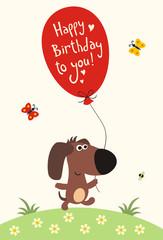 Happy birthday! Funny little puppy with balloon, handwritten text.