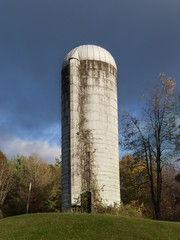 Old White Farm Silo on a Hill Top in the Hudson Valley