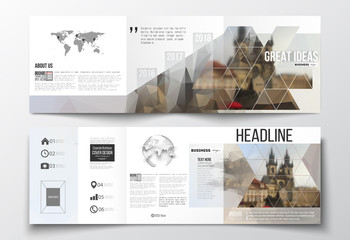 Set of tri-fold brochures, square design templates. Polygonal background, blurred image, urban landscape, Prague cityscape, modern stylish triangular vector texture.