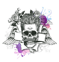Skull. Hipster  silhouette with mustache and tobacco pipe  ribbon, wings,  bouquet of roses on a splash background. Vector illustration in vintage engraving style. Perfect for t-shirt print.