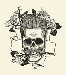 Hipster skull silhouette with mustache and arose in teeth ribbon bouquet of roses on a background. Vector illustration in vintage engraving style. Perfect for t-shirt print.