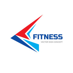 Fitness sport - vector logo concept illustration. Abstraction shape sign. Stylized geometric bird wing. Delivery symbol. Design element.