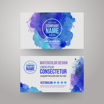Vector template watercolor business cards