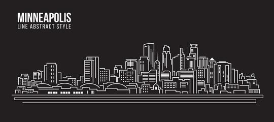 Cityscape Building Line art Vector Illustration design - Minneapolis city