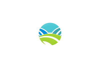 eco nature landscape icon vector logo