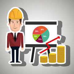 man and statistics isolated icon design, vector illustration  graphic