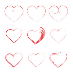 Hearts. Set of icons on a white background. Collection for the celebration of Valentine's Day, engagements, weddings. Colorful elements. Romantic design. Symbol of love. Vector.