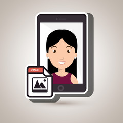 woman with samrtphone isolated icon design, vector illustration  graphic