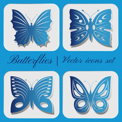 Set of four vector butterfly icon on a gray background.