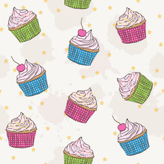 cute pattern with cupcakes