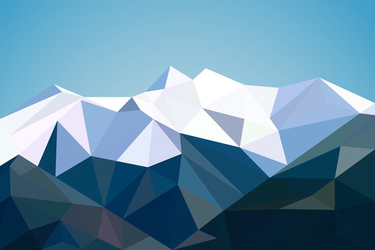 Mountains landscape in polygonal style. Mountains background in low poly