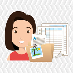 woman and papers isolated icon design, vector illustration  graphic