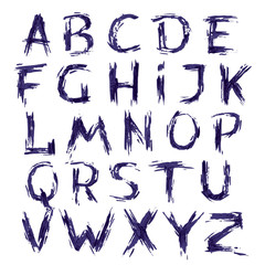Hand drawn alphabet letter with dry brush.