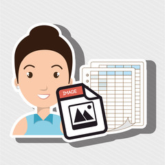girl with papers isolated icon design, vector illustration  graphic