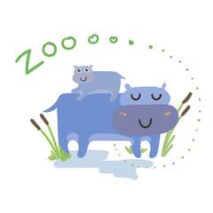 Set of Cute Vector Zoo Animal. Kawaii eyes and style.