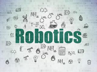 Science concept: Robotics on Digital Data Paper background