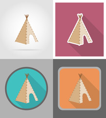 wigwam wild west flat icons vector illustration