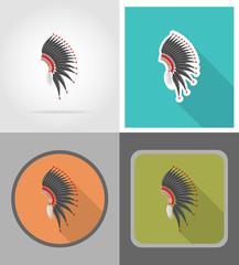mohawk hat wild west flat icons vector illustration