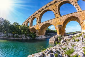 Aqueduct Pont du Gard.  Photo taken fisheye lens Wall mural