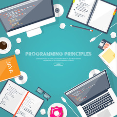 Programming,coding. Flat computing background. Code, hardware,software. Web development. Search engine optimization. Innovation,technologies. Mobile app. Vector illustration. SEO.