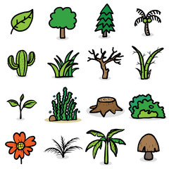 trees, plants icons set/ cartoon vector and illustration, hand drawn style, isolated on white background.