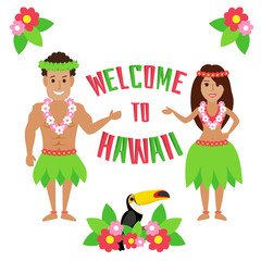 welcome to hawaii. hawaiian man and woman in traditional costumes flowers toucan bird isolated on white background
