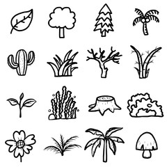 trees, plants icons set/ cartoon vector and illustration, black and white, hand drawn style, isolated on white background.