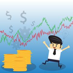 Businessman on Stock Market Background Illustration.