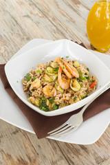 Risotto integrale con gamberi e zucchine, Mediterranean Cuisine