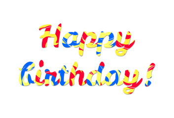 Happy birthday colorful text on the white background