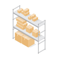 Isometric vector illustration of Warehouse Storage shelves with cardboard boxes.