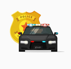 Police car vector illustration, high performance cop auto, urban police cruiser patrols, security emergency automobile icon with flashing lights, modern poster concept, sticker isolated on white